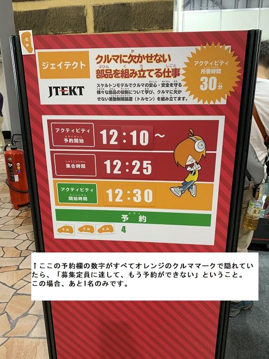 東京モーターショーのキッザニア。仕事募集の案内