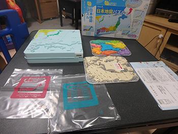 くもん「日本地図パズル」の内容物(箱を開封して出してみました)