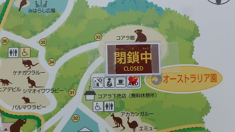 多摩動物公園のコアラ館は閉鎖中(展示休止中)