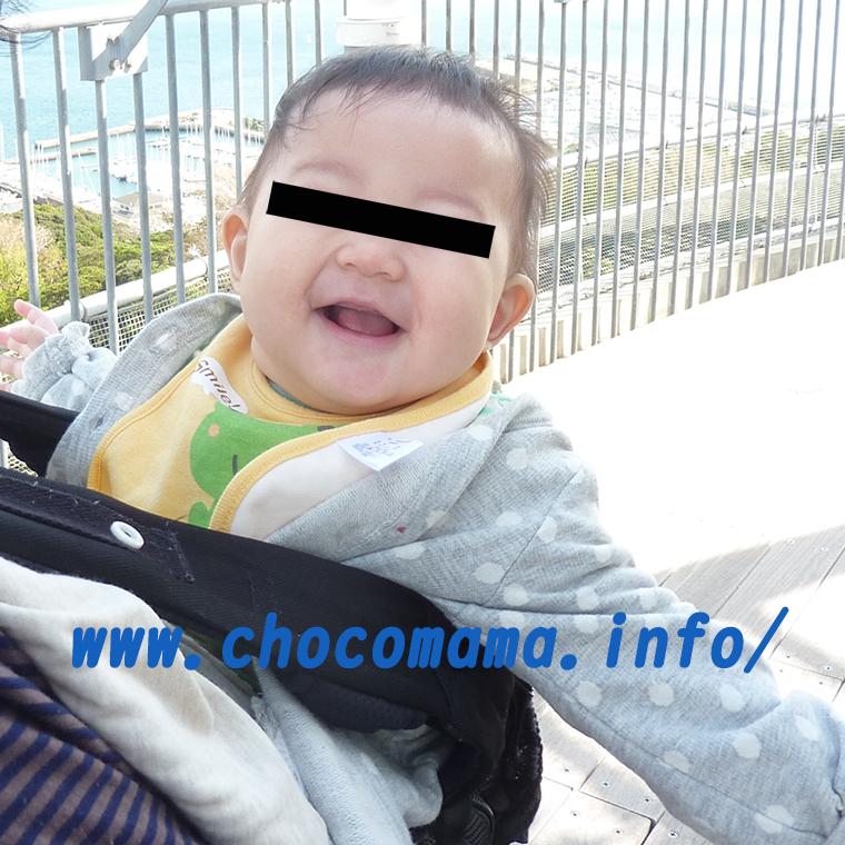高台で風を受け、抱っこ紐の中で喜ぶ赤ちゃん