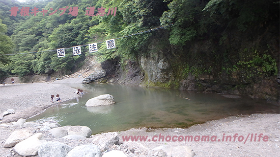緑の休暇村青根キャンプ場道志川で川遊びの写真(神奈川県)