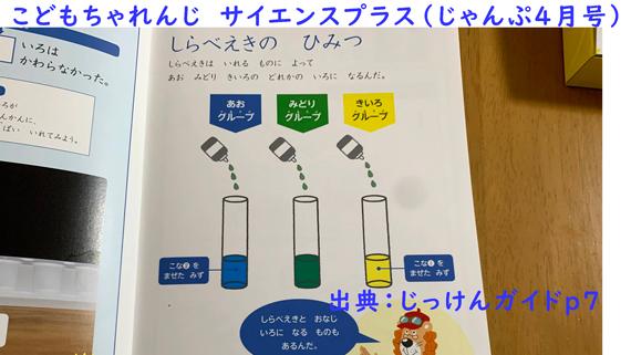 こどもちゃれんじサイエンスプラス色水実験ガイド(じゃんぷ体験口コミ)