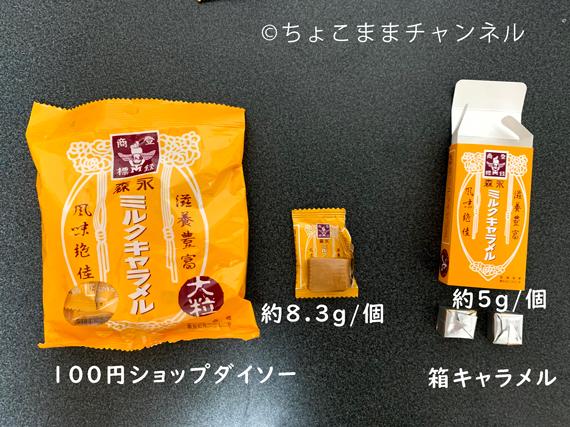 森永のキャラメル比較(重さの違い)100円ショップ